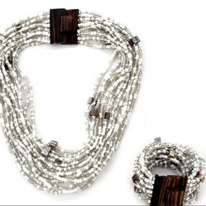 White Seed Bead Bracelet and Necklace